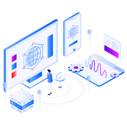 isometric of a man busy with website design